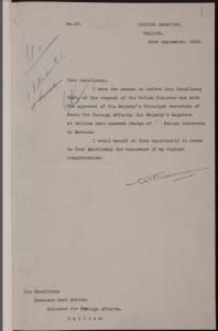 Briti saatkonna teade Eesti välisminister Karl Selterile, et Briti saatkond Tallinnas on üle võtnud Poola huvide kaitsmise Eestis (seoses puhkenud sõja ja Poola saatkonna lahkumisega Tallinnast). 30.09.1939. Allikas: RA, ERA.957.14.727, l. 1.