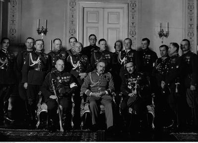 Kaitseliidu delegatsioon külas marssal Józef Piłsudskil 1933. aastal. Foto: Rahvusarhiiv