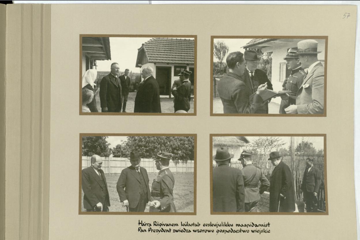 Lehekülg riigivanem K. Pätsile kingitud albumist tema viibimise puhul ravimisel Truskawiec'is (nüüd Truskavets, Ukraina) 07.05-04.06.1935. Allikas: RA, ERA.1278.1.317 l. 57.