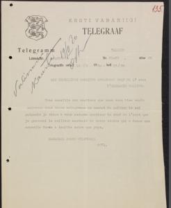 Marssal Józef Piłsudski tänuavaldus riigivanem Otto August Strandmanile. 14.02.1930 Allikas: RA, ERA.957.7.149 l. 135.