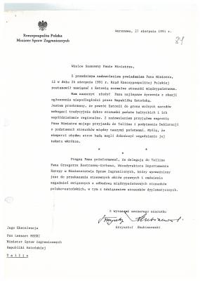 Poola Välisministeeriumi kiri Eesti Vabariigi välisminister Lennart Merile tunnustamaks Eesti Vabariiki