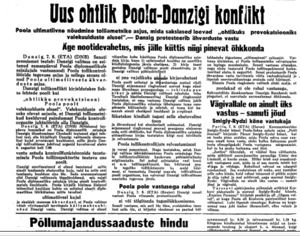 Uus ohtlik Poola-Danzigi konflikt. Foto: Rahvusarhiiv