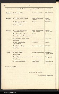 Poola poole edastatud diplomaatide nimekiri 1921. aastal, milles oli esmakordselt ka Eesti diplomaat